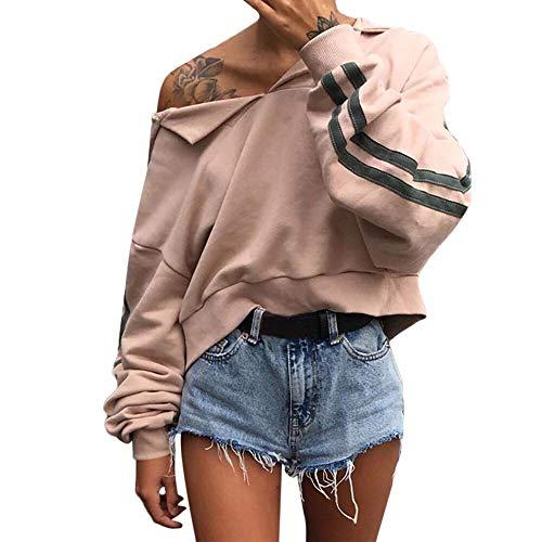 Deelin dames herfst winter V-hals met capuchon gestreept lange mouwen mode casual sweatshirt korte trui top blouse