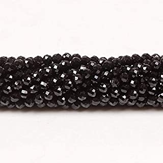 Bhd 2mm 3mm Natural Round Faceted Black Spinel Stone Loose Gemstone Beads DIY Accessories for Jewelry Necklace Bracelet Ma...