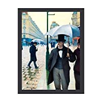 INOV パリフランス通りシーン雨 日はがき インテリア 壁掛け 額入り ポスター アート アートパネル リビング 玄関 プレゼント モダン アートフレーム おしゃれ 30x40cm