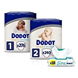 Dodot Pañales Bebé Sensitive Talla 1 (2-5 kg), 276 Pañales + Talla 2 (4-8 kg), 240 Pañales + Toallitas Aqua Pure, 18 Paquetes (18x48), Máxima Protección de la Piel de Dodot