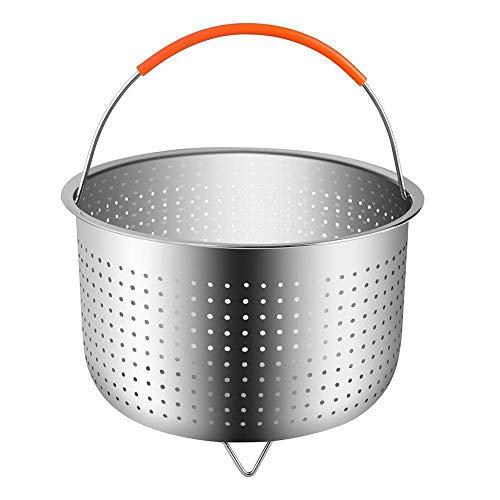 Dämpfkorb Dämpfeinsatz Instant Topf Zubehör Edelstahl Dampfeinsatz mit Silikon Griff Fit Schnellkochtopf für Dünsten von Gemüse Früchte Eier