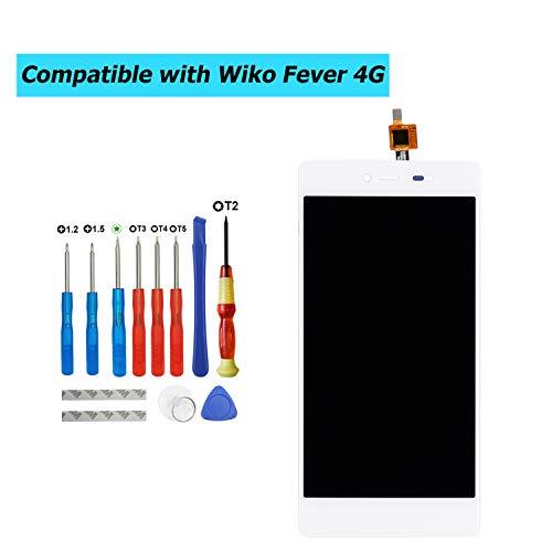 E-YIIVIIL - Pantalla LCD de repuesto compatible con Wiko Fever 4G 5,2 pulgadas (color blanco, sin marco), pantalla de repuesto, pantalla táctil LCD con kit de herramientas