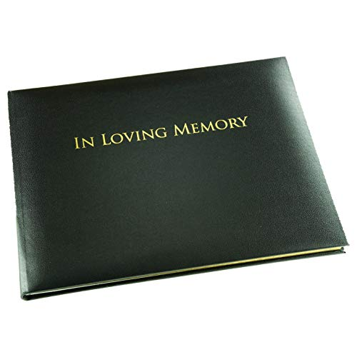 """in Loving Memory' Funeral Guest Book - Formal Inner Page Format - Presentation Boxed - Black - Size: 10.5"""" x 7.6"""""""