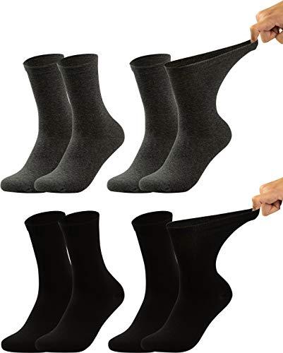 Vitasox 11120 Damen Ges&heitssocken extra weiter B& ohne Gummi, Venenfre&liche Socken mit breitem Schaft verhindern Einschneiden und Drücken, 4 Paar Schwarz Anthrazit 35/38