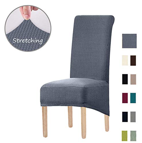 KELUINA Special XL Size Long Back Jacquard Stretch Dining Chair slipcovers - Spandex Plush Short Chair Covers Solid Large Dining Room Chair Protector Home Decor Set of 4(Gray)