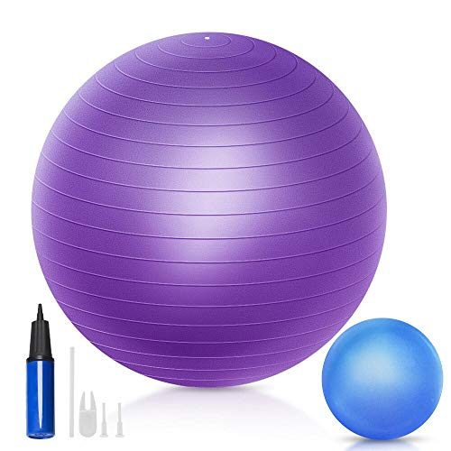 QF Yoga Exercise Ball with 9 inch Mini Exercise Ball, 55cm 65cm 75cm Swiss Ball Pilates Ball Barre Ball with Small Bender Ball, for Pilates, Yoga, Core Training and Physical Therapy, Balance Stability
