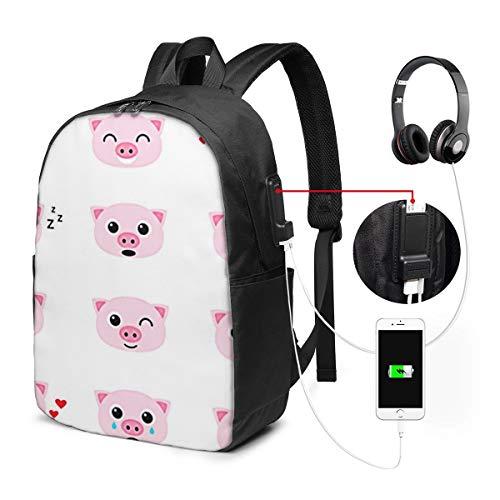 WEQDUJG Mochila para El Laptop para Ordenador del Trabajo Viaje Pink Piglet Emoticones De Cerdo Mochila para El Laptop para Ordenador del Trabajo Viaje