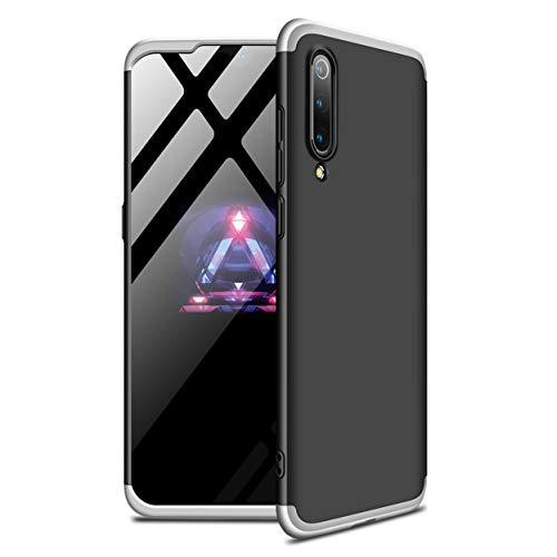 Funda Xiaomi Mi 9 SE 360°Caja Caso + Vidrio Templado Laixin 3 in 1 Carcasa Todo Incluido Anti-Scratch Protectora de teléfono Case Cover para Xiaomi Mi 9 SE (Plateado Negro)
