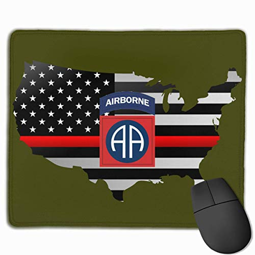 US Army 82nd Airborne Division Thin Red Line Flag Alfombrilla para ratón Non-Slip Gaming Mouse Pad Mousepad for Working,Gaming and Other Entertainment
