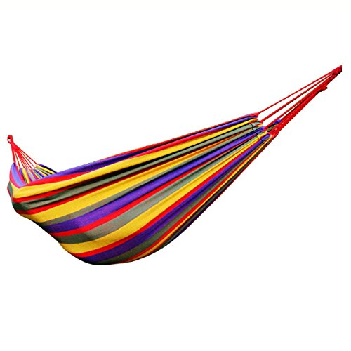 DNSJB Outdoor volwassen hangmat, Canvas om Rollover te voorkomen, slaapbank hangstoel, rode strepen