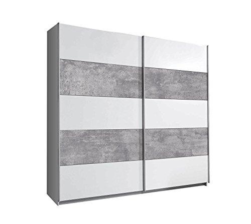 FORTE Ginger, Moderner Schwebetürenschrank, Kleiderschrank, Betonoptik Kombiniert mit Weiß, 220.1 x 61.2 x 209.7 cm