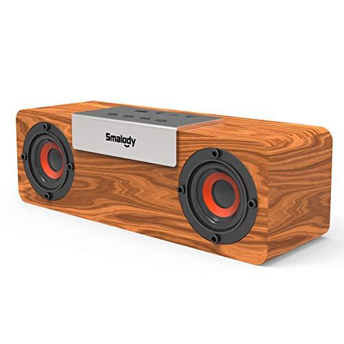 Smalody Holz Bluetooth Lautsprecher Soundbox Kabellos Tragbar Wireless Lautsprecher Stereo Mini Outdoor Schreibtisch Wohnzimmer Lautsprecher mit FM Radio,USB und TF-Karte-Slot
