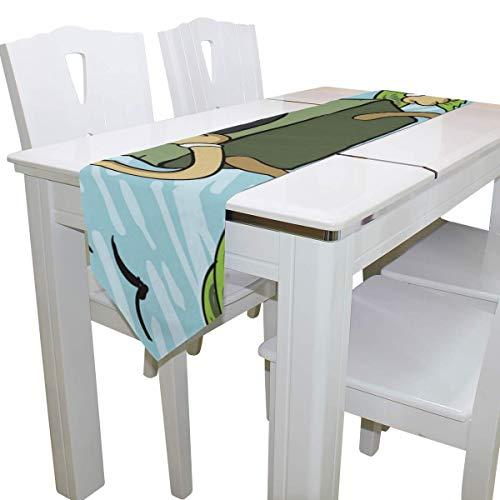 N/A eettafel loper of dressoir sjaal, eenogige driehoek schepsel wandelen buiten dek tafelkleed loper koffie mat voor bruiloft partij banket decoratie 13 x 90 inch