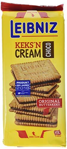 Leibniz Keks\'n Cream im 1 Pack — Butterkekse mit Schoko-Creme Füllung — Schoko-Kekse wiederverschließbar —Schokoladenkekse (1 x 228 g)