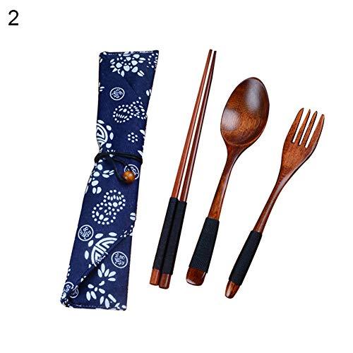 Couverts, Courterzsl Portable Travel Style chinois Bois Baguettes Cuillère Fourchette avec étui de rangement – Noir Noir
