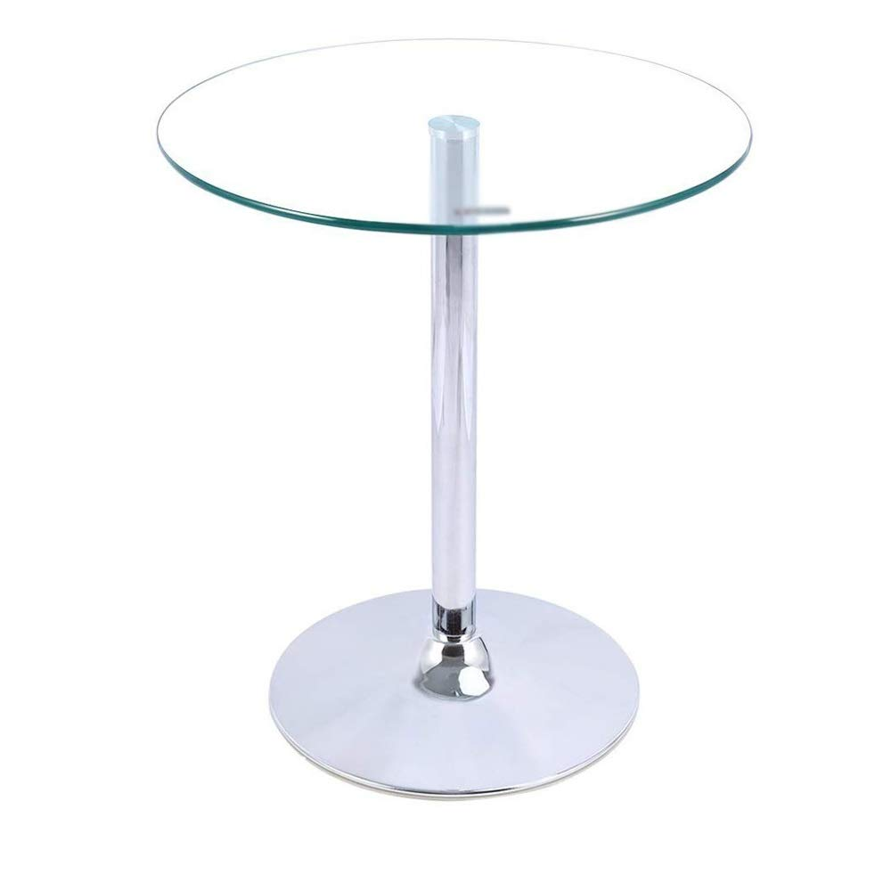 Amstyle Altona Tavolino quadrato da bistrot piano in MDF con rivestimento in pelle 60 x 60 cm colore: Bianco regolabile in altezza