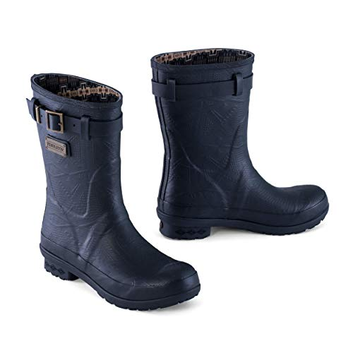 Pendleton Women's Heritage Embossed Solid Short Slip-Resistant Rain Boot with Brand Accessory on The Side, Black, Size 8