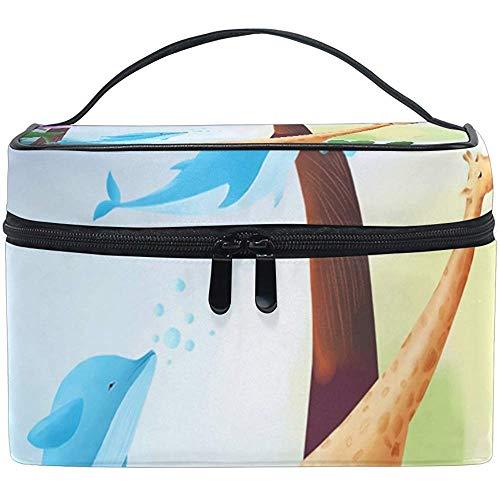 Sacs de Maquillage de Voyage Rêve Bleu Baleine Volante Girafe Sac cosmétique Trousse de Toilette étui Multifonction Portable