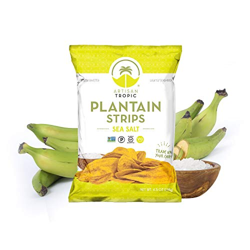 Sea Salt Plantain Chips - Vegan Snacks - Healthy Snacks - Paleo Snacks - Gluten Free Snacks - Whole 30 Approved Foods - Banana Chips - Baked Chips - ARTISAN TROPIC Plantain Strips - 4.5 Oz Single Pack