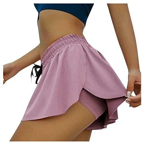 BROILLIANNT Pantalones Cortos para Mujer Pantalones Cortos de Fitness fluidos 2 en 1, Pantalones Cortos Informales de Entrenamiento con Volantes con Cordones (L,Purple Red)