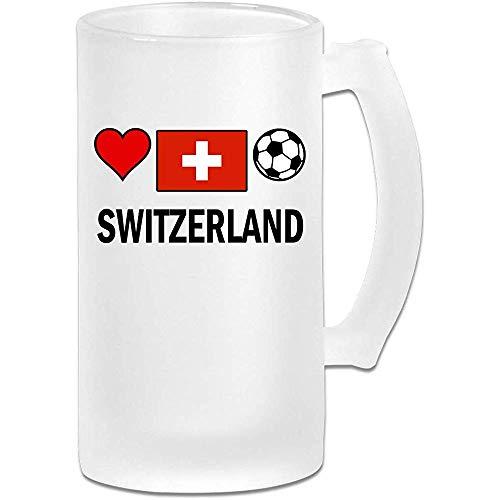 Jarra de cerveza Stein Glass Soccer Frosted Glass de Suiza - Taza de pub personalizada personalizada - Regalo para su bebedor de cerveza favorito