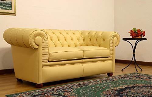 JVmoebel Chesterfield - Sofá de 2 plazas (piel sintética), color amarillo