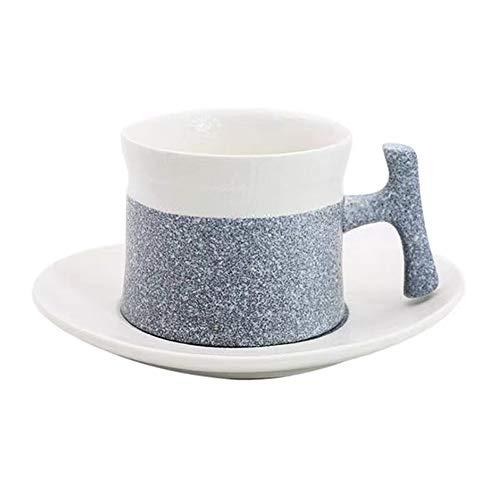 SXXYTCWL Taza de café de cerámica y platillo conjunto de la oficina de la tarde Leche del té Latte Cappuccino Caramel Macchiato Espresso Taza de café Adecuado para microondas Horno Lavavajillas (azul)
