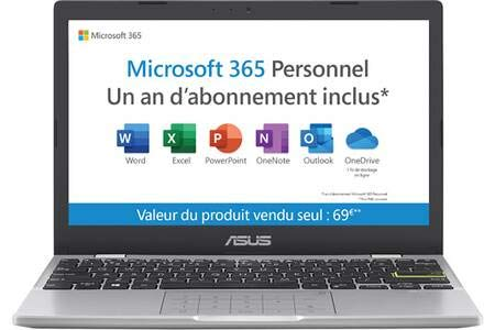 ASUS Vivobook E210MA-GJ003TS PC Portable 12'' HD (Celeron N4020, RAM 4G, 64G EMMC, WINDOWS 10 HOME S) Clavier AZERTY Français