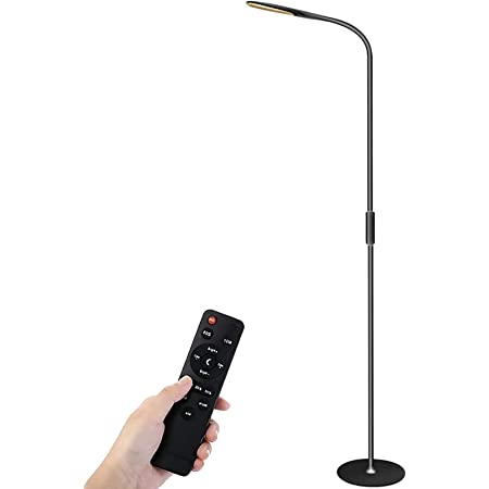 LED Floor Lamp, Henzin 9W Remote & Touchable LED Reading Standing Light for Living Room Bedroom, Flexible Gooseneck Task Light,5 Color Temperatures, 5 Level Brightness - Black
