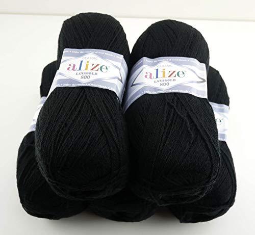 Alize Wolle Alize Lanagold 800 5 x 100g Strickwolle mit 49% Wolle 500 Gramm Wolle einfarbig türkische Wolle (60)