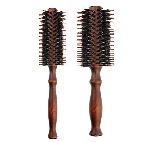 Frcolor 2pcs brosse à cheveux avec poils naturels poignée en bois ronde peigne à cheveux pour le séchage curling redressement (taille s et taille l)