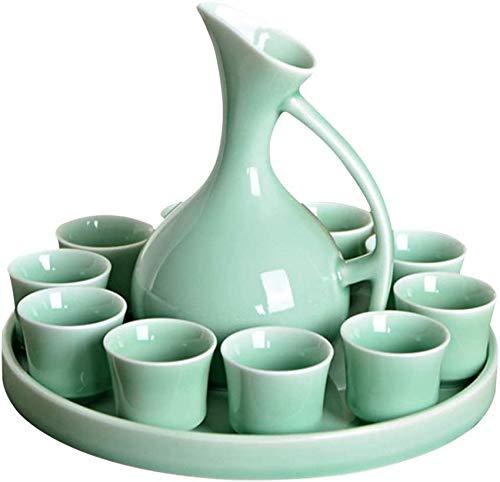 JJDSN Set Sake, Set Sake, 12 Pezzi di Bicchieri da Vino Cinesi, Bicchiere da Vino in Porcellana Tradizionale in Porcellana Cinese, Compreso Bottiglia di Vino, 10 Bicchieri da Vino, Vassoio, Glassa