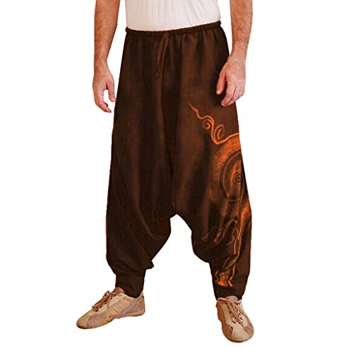 99AMZ Herren Haremshose Baggy Pumphose Yoga Tanz Strand Hosen Freizeithose Pluderhose Aladin Pants Männer Pumphosen Pluderhose Retro Drucken Aladinhose Pluderhose (Braun, L)