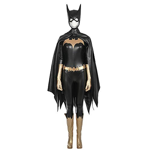 QWEASZER Frauen Batman Batgirl kostüm Erwachsene Body Onesies, mäntel, Schuhe, Handschuhe, Maske Halloween Movie Game Cosplay Kostüm Kostümfest Requisiten,Black-L