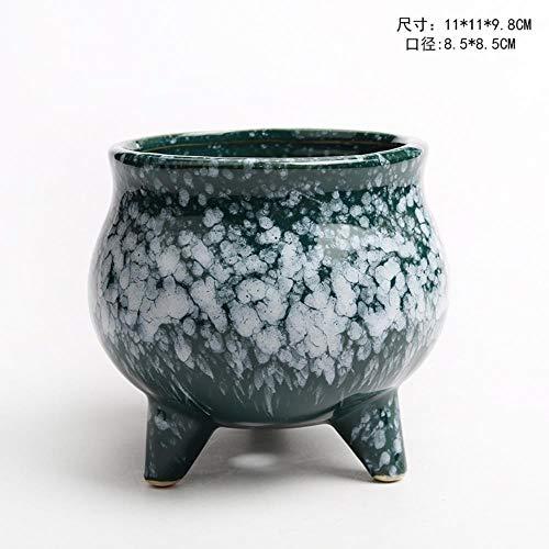 Ethan Tuinvaas Aardewerk Chinese Variabele Glaze Sneeuwvlok Keramische Bloempot Hoge Temperatuur Succulente Plant Mini Landschap