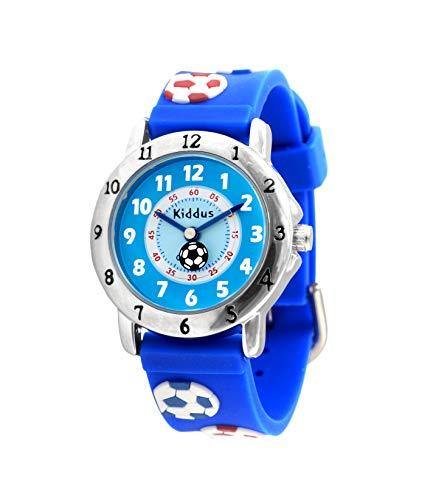 KIDDUS Qualitätsuhr für Mädchen, Jungen, Kinder. Analoge Armbanduhr mit Zeitlernübungen, japanischen Quarzwerk, gut lesbar, um ganz leicht zu Lernen, die Uhr zu lesen. RE0270 Fußball Blau