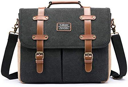 LOKASS Mens Messenger Bag 15 6 Inch Canvas Leather Laptop Bag Shoulder Handbag Business Briefcase product image