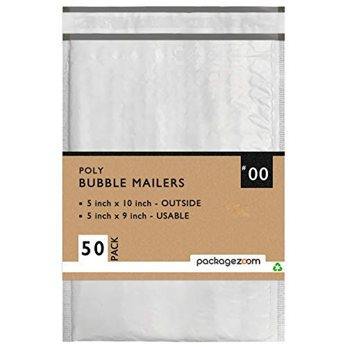 PackageZoom 50 Pcs Poly Bubble Mailers 5x10 Padded Envelopes #00 Shipping Envelopes 2.5 Mil