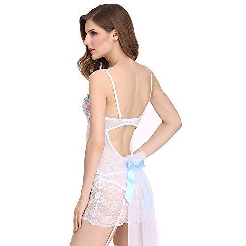 AFYH Sexy Dessous, Damen Pyjama Robe Einteiliges Kleid Overall, Erwachsene Party Sexy Tanz Modenschau, Polyester, Weiß,L