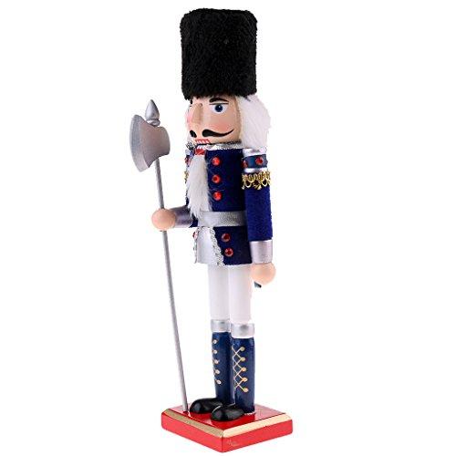 Fenteer Modello Soldato Schiaccianoci Figurine Burattino da Legno Bambola Giocattolo Dipinte a Mano - Blu