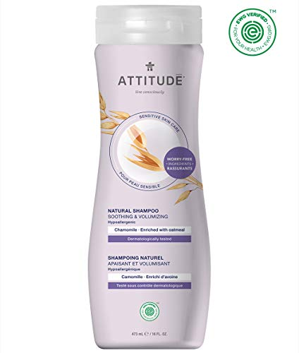 ATTITUDE Shampoo for Sensitive Skin, Soothing & Calming Shampoo, Ideal for Dry, Itchy and Sensitive Scalp, Enriched with Oatmeal, Chamomile, 16 Fl. Oz.
