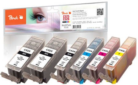 Peach Spar Pack Plus Tintenpatronen, XL-Ergiebigkeit, kompatibel zu Canon CLI-526,  PGI-525
