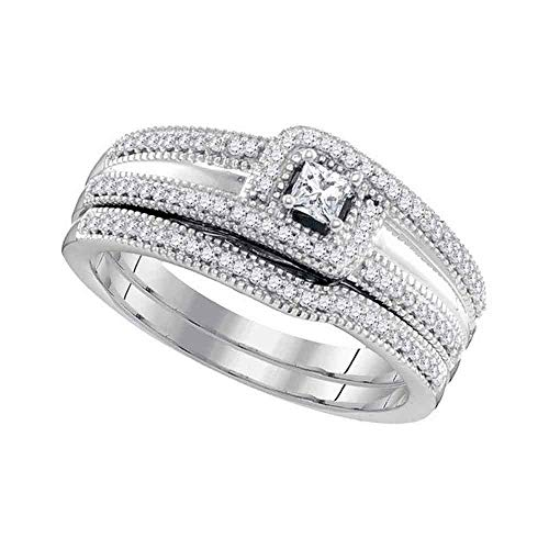10ct White Gold Princess Diamond Bridal Wedding Engagement Ring Band Set 1/3 Cttw for Women
