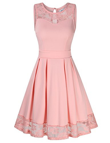 KOJOOIN Damen Elegant Kleider Spitzenkleid Ohne Arm Cocktailkleid Knielang Rockabilly Kleid Rosa S