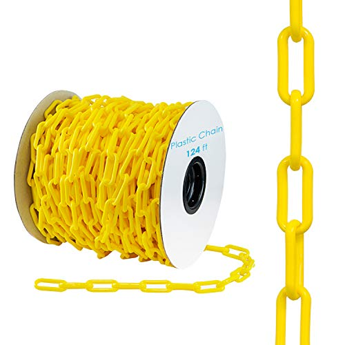 Houseables Plastic Chain, Link Fence, Safety Barrier, 124 Foot, Yellow, 2