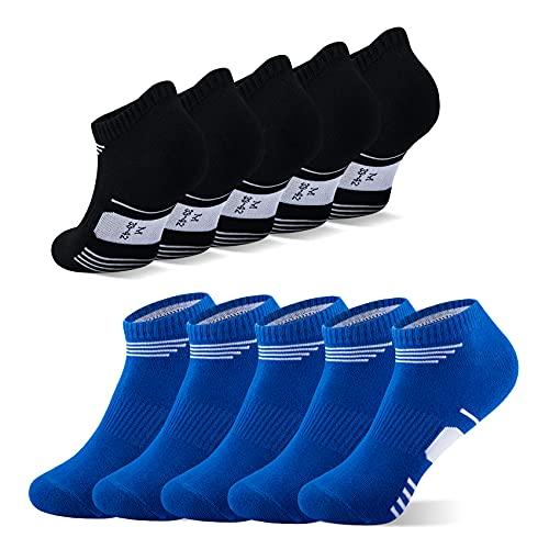 Momoshe Calcetines Cortos Mujer Hombre Calcetin Negro Azul Deportivos Transpirables Tobilleros de Algodón 10 Pares 35-38