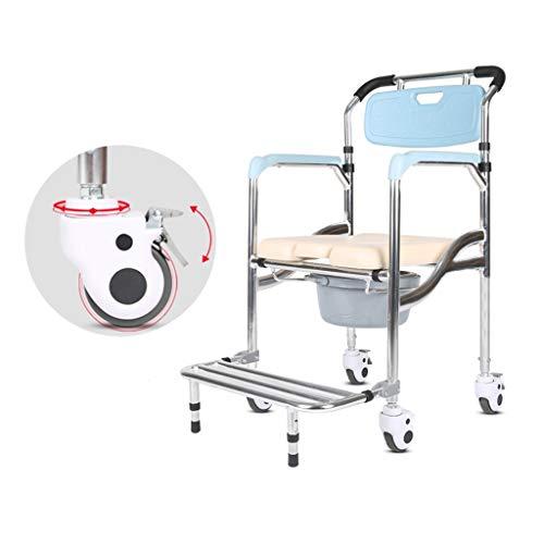 QDY-Toilettenstühle Kommodenstuhl für Alte - Verstellbare Rollstuhl-Nachttoilette - Antimikrobieller mobiler Pflegesessel Großeltern