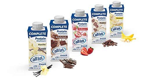 all in® COMPLETE Protein Shake 14x 200ml - Hochkalorische Trinknahrung auf Milch-Basis in 5 Sorten Vanille, Schokolade, Banane, Erdbeere, Kaffee | Protein Drink zur schnellen Gewichtzunahme