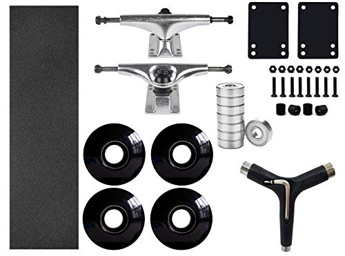 Ready to Build on Your Skateboard Parts and Hardware Set, Skateboard Trucks, Skateboard Black Wheels 52mm, Black Grip Tape, ABEC 7 Bearings, Skateboard Pads, Hardware 1