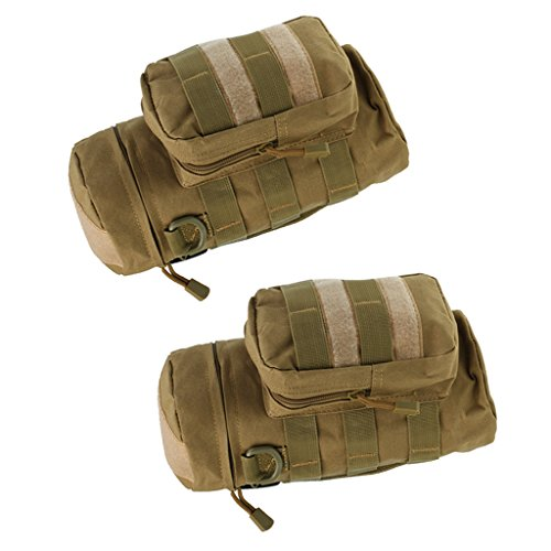 MagiDeal 2pcs Sac de Bouteille d'eau Style Militaire Pochette Tactical Équipement en Nylon pour Sports de Plein Air Voyage Camping Escalade Randonnée